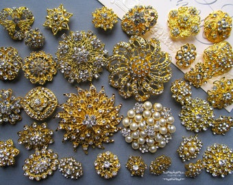 32 Gold Brooch Lot Assorted Brooch Bouquet Brooch Wedding Wholesale Mixed Rhinestone Button Pin Pearl Crystal Bridal Cake Embellishment