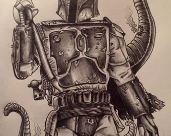 Star Wars Boba Fett A5 Art Print