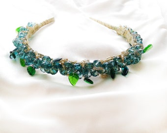 Emerald Green Crystal Headband \ Prom Headband Greenery Wedding Headpiece Botanic Wedding Tiara Beaded Headband