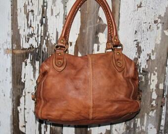 Soft Camel Italian Leather Barrel Bag