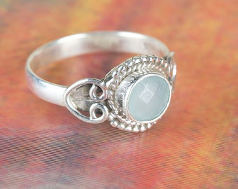 Aqua Chalcedony Ring, Handmade Ring, Handcrafted Ring, Boho Ring, Genuie Aqua Chalcedony Ring, Vintage Aqua Chalcedony Ring, Silver Ring