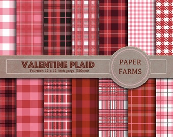 Valentine digital paper, valentine plaid digital paper, love digital paper, pink plaid, red plaid, valentine scrapbook, instant download