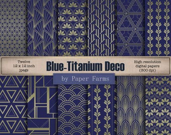 Art Deco digital paper, Art Deco scrapbook paper, Blue, Titanium, metallic, 1920's patterns, 1920's digital paper, INSTANT DOWNLOAD