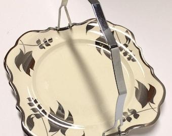 Sandland Ware Silver Luster Plate w/ Detachable Metal Serving Handle Lancaster Sandland Ltd Hanley England Home Dining Snack Cheese Tray