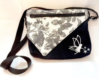 Cross Body Bag, messenger bag, black and white purse