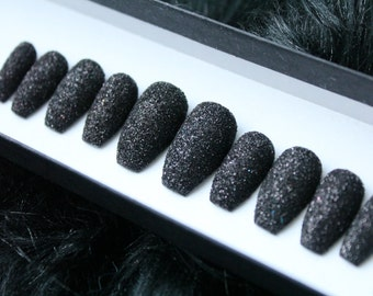 Black Glitter Press on Nails | Witch Nails | Witchy | Wicca | Goth | Alt | False Nails | Fake Nails | Glue On Nails | Custom Shapes Sizes