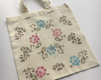 Flowers Natural Small Canvas Tote Bag