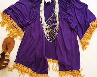 Purple & Golden Fringe Cardi