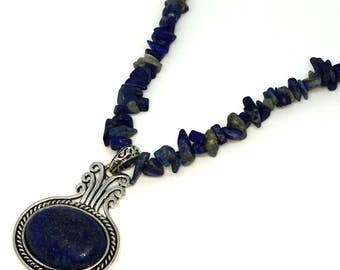 Denim blue beaded pendent necklace