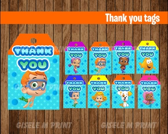 Bubble Guppies Thank You tags, Printable Bubble Guppies gift tags, Bubble Guppies party Thank You tags instant download