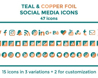 Teal Copper Social Media Icons Buttons Website Icons Teal Copper Foil Blog Icons Copper Social Media Icons Social Media Graphics Twitter
