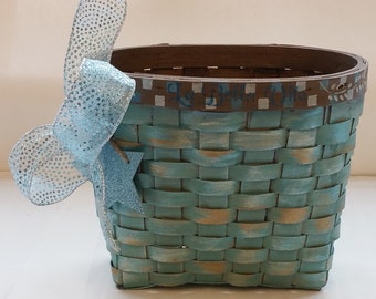 "Small Wooden Anything Gift Basket ""AQUAMARINE"""