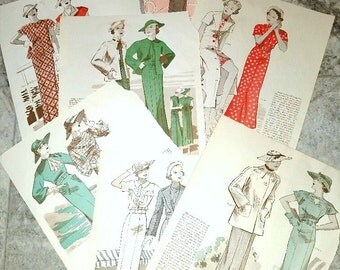 Fashion Pages - Set of 7 Magazine Pages  -  Patterns from 1930s - Butterick
