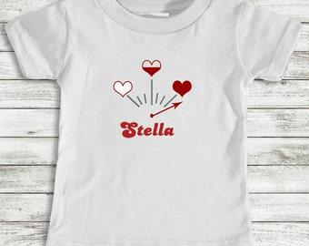 Valentine Toddler Tee Girl Short Sleeve  Hearts