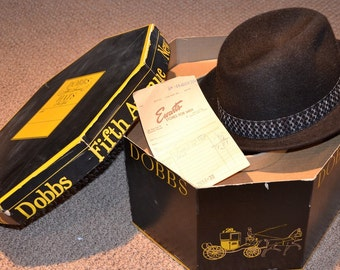 Mens Vintage Hat and Hatbox