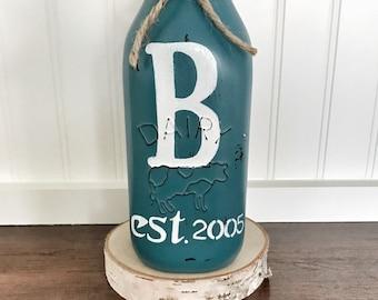 mason jar decor, painted milk jug mason jar, vase, floral centerpiece, milk jug decor, Spring decor, customized decor