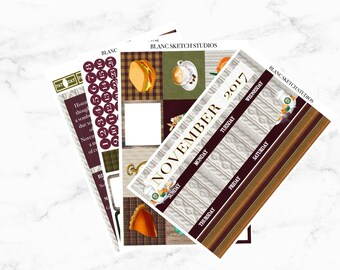 November monthly kit - Erin Condren Life Planner Stickers - ECLP sticker - MAMBI happy planning - month view - Thanksgiving - shopping