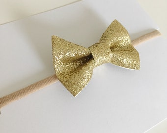 Gold Baby Bow - Gold Baby Headband - Gold Toddler Bow - Gold Toddler Clip - Baby Hair Accessories - Toddler Hair Accessories - Ha