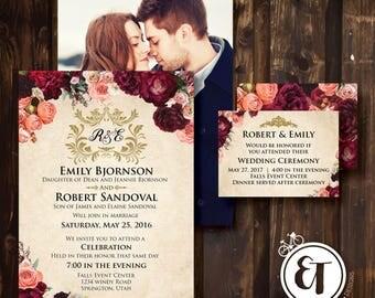Wedding Invitation -Marsala Flowers