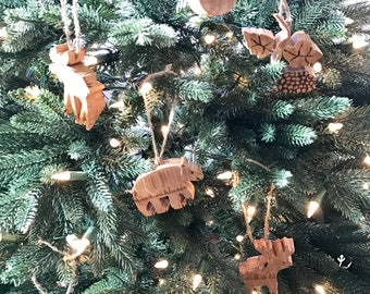 Christmas ornaments made from reclaimed red wine barrel staves - oak wood