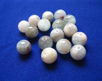 Aquamarine Natural Round 10mm Beads