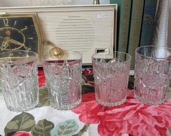 Vintage Prescut EAPC  Juice Glasses, Vintage Glassware, Vintage Juice Glasses, EAPC Glassware, Prescut Juice Glasses, Anchor Hocking Glass