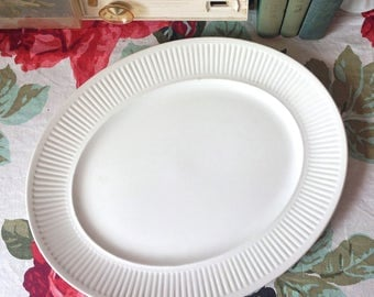 Vintage White Ironstone Platter by Johnson Brothers in the Athena Pattern, Ironstone Dinnerware, Ironstone Oval Serving Platter, Collectible