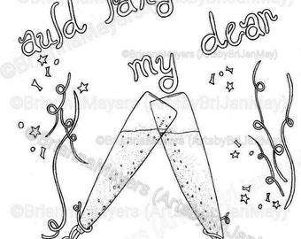 Auld Lang Syne coloring page; download & print, New Year's Eve