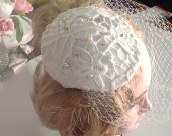 bridal ivory satin covered with ivory lace fascinator with veil