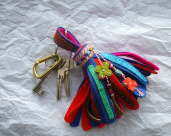 key chain tassel brush of felt