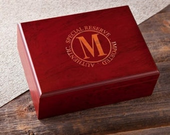 Personalized Humidor,  Cigar Gifts,Monogrammed Cigar Humidor, Engraved Humidor, Husband Gift, Gifts for Him, Groommen Gifts
