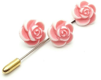 Set of Pink Roses Stud Earrings and Lapel Pin Vintage Plastic from the 90s flower kit