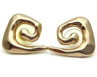Primitive Gold tone Metal Stud Earrings Vintage Punk Rock from the 90s Steampunk Mechanical Industrialization Hard core Geometrical Grunge