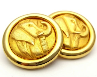 Elephant Gold Tone Metal Round Stud Earrings Vintage from the 80s Elegant Animal Africa Jungle India Ivory King Majestic Signed Desert