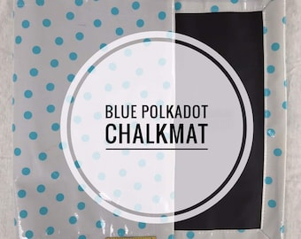 Roll up Chalk Mat Blue Polka Dot, rollup chalkmat, roll up chalk mat, blackboard mat, travel toy