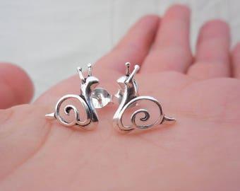 925 Sterling Silver Snail Earrings, Snail Earrings, Snail Studs, Snail Jewelry, Animal Lovers, Animal Earrings, Kids Earrings