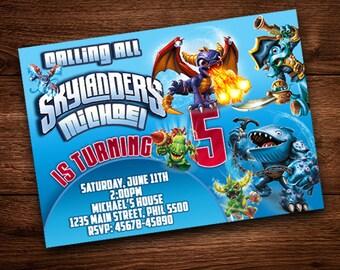 Skylanders Birthday invite card, For Kids, Boy and Girl, Skylanders Party, Skylanders Birthday, Skylanders Invite.
