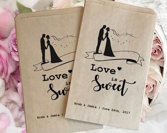 Wedding treat bag | wedding favor bag | Wedding candy bag | Kraft favor bags | Wedding popcorn bags | Personalized wedding bags