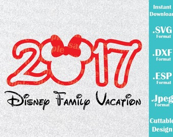 INSTANT DOWNLOAD SVG Disney Vacation 2017 Inspired Minnie Mouse Ears for Cutting Machines Svg, Esp, Dxf and Jpeg Format Cricut Silhouette