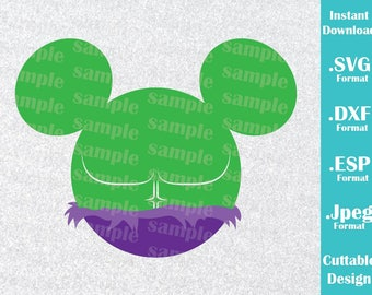INSTANT DOWNLOAD SVG Disney Inspired Superhero Hulk Mickey Ears Cutting Machines Svg, Esp, Dxf, Jpeg Format Cricut Silhouette