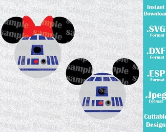 INSTANT DOWNLOAD SVG Disney Inspired R2D2 Mickey and Minnie Ears for Cutting Machines Svg, Esp, Dxf and Jpeg Format Cricut Silhouette