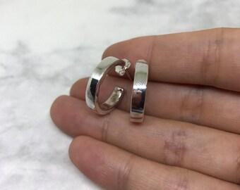 """0.75"""", vintage Sterling silver handmade hoop earrings, solid 925 silver circle, stamped 925"""