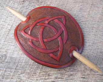 Hand Tooled Leather Hair Barrette with Celtic Trinity/Triquetra Irish Lovers Knot. Free Shipping