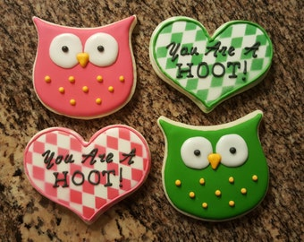 Owl You Are A Hoot Valentine's Day Sugar Cookie Set - 2 Cookies