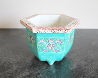 Turquoise Chinoiserie Footed Planter