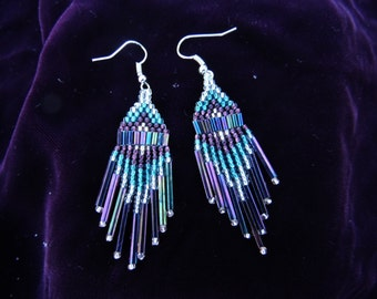 Purple Haze - Native American style beaded earrings, medium length
