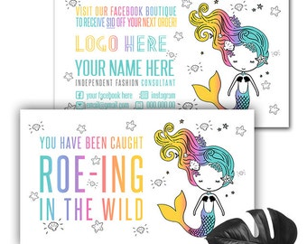 Mermaid ROE-ING in the wild Business Card Home Office Approved Personalized, Business Card Template,  Business Cards, Lipsense
