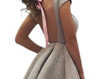 Grey flared dress