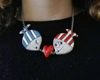Girocollo pesci innamorati in ceramica