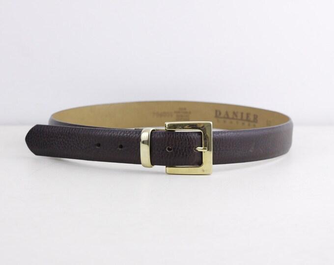 Danier leather belt, vintage leather ladies belt, size small, size 30, short belt, chestnut brown genuine leather belt with gold tone buckle
